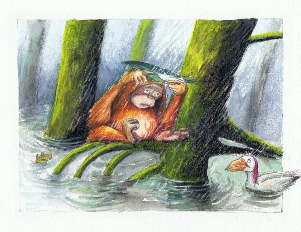 """illustration fra billedbogen """"Ikke nu men nu"""" med tekst af Thomas Winding."""