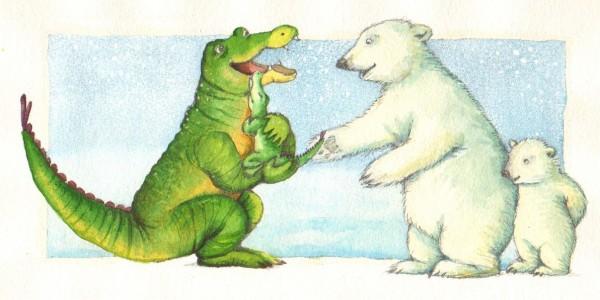 """Tak fordi I vil Passe Lille Krokodille lidt"" siger Store Krokodille. Men Lille Krokodille vil IKKE passers."