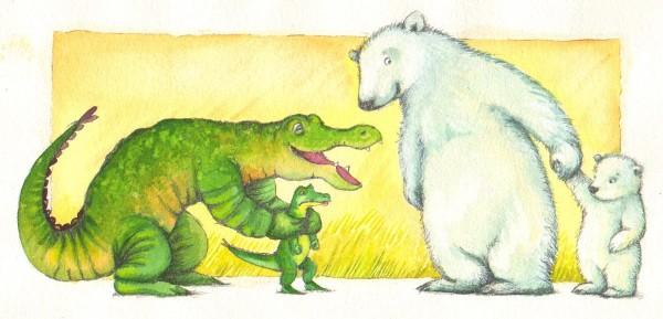 """""""Nu kan I to lege lidt sammen"""", siger Store Isbjørn."""