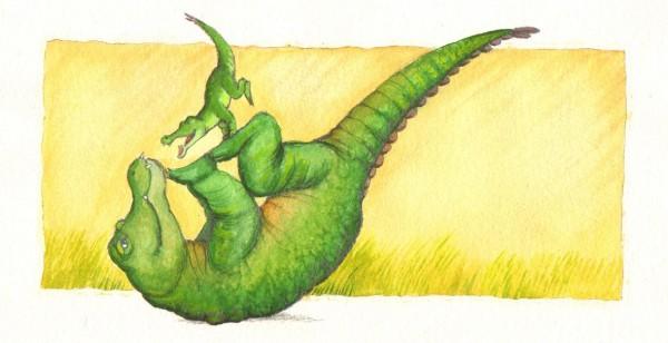 Lille Krokodille hygger sig rigtigt meget med Store Krokodille