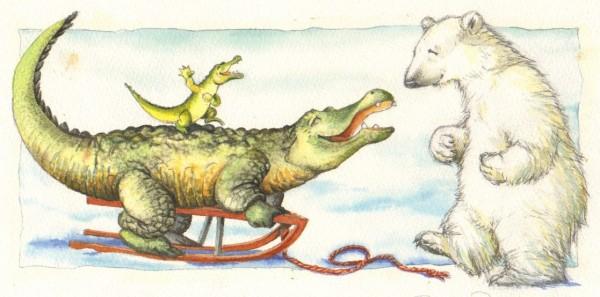 """""""Nu skal vi kælke"""" siger Lille Krokodille"""