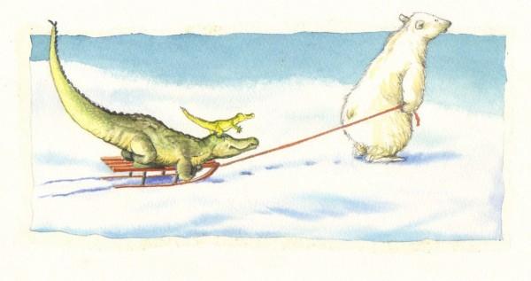 """""""Jeg skal trække kælken"""" siger Store Isbjørn, """"for jeg er meget, meget stor og stærk"""""""