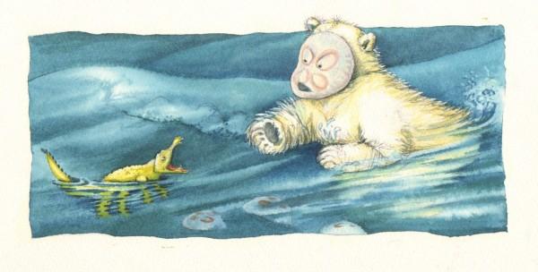 """""""Hjælp, et uhyre!"""" Illustration fra Lille Krokodille i det store hav"""