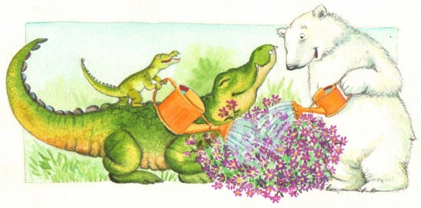 """""""Se de fine blomster springer ud"""" siger Lille Krokodille."""