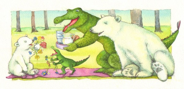 """""""Nej, se, blomsterne lå bare inde i tæppet"""" siger Lille Isbjørn."""