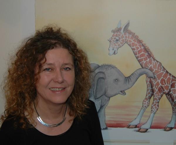portræt med giraf og elefant