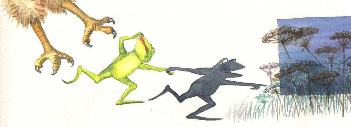 Pas på Frø, han æder dig! Han vil også æde mig, råber Skygge- Lad os komme væk!