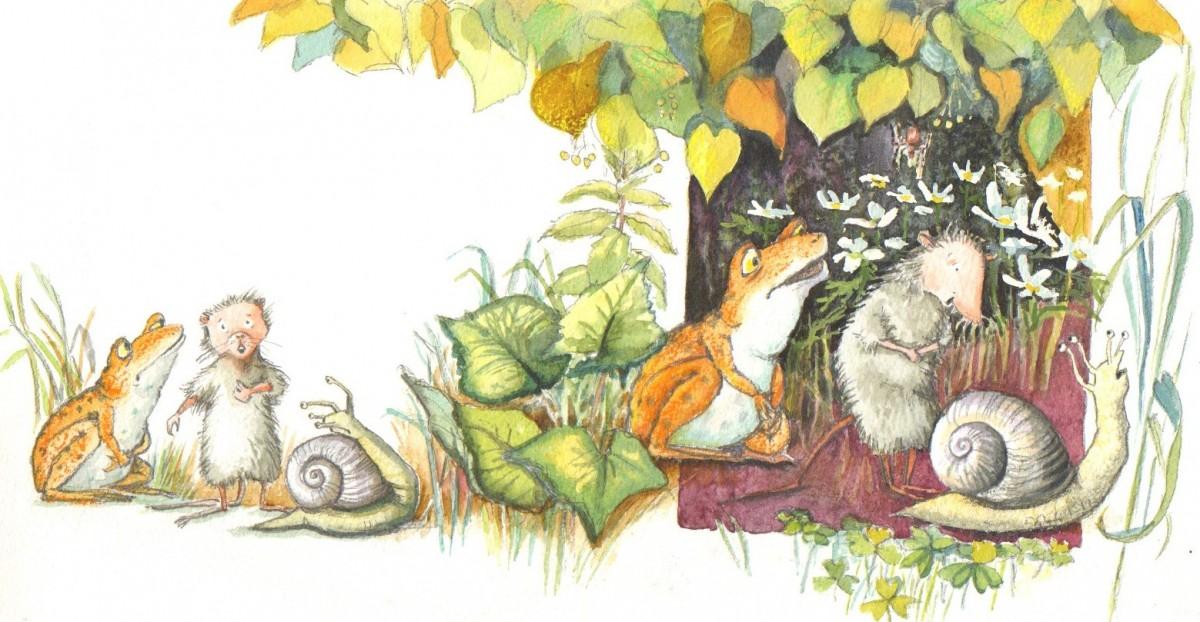 """Fra Tudses fine venner"""". Tudse er ked af at den ikke har sådan et fint navn som Vinbjergsnegl. og Spidsmus hedder noget så fint som Dværgspidsmus....."""