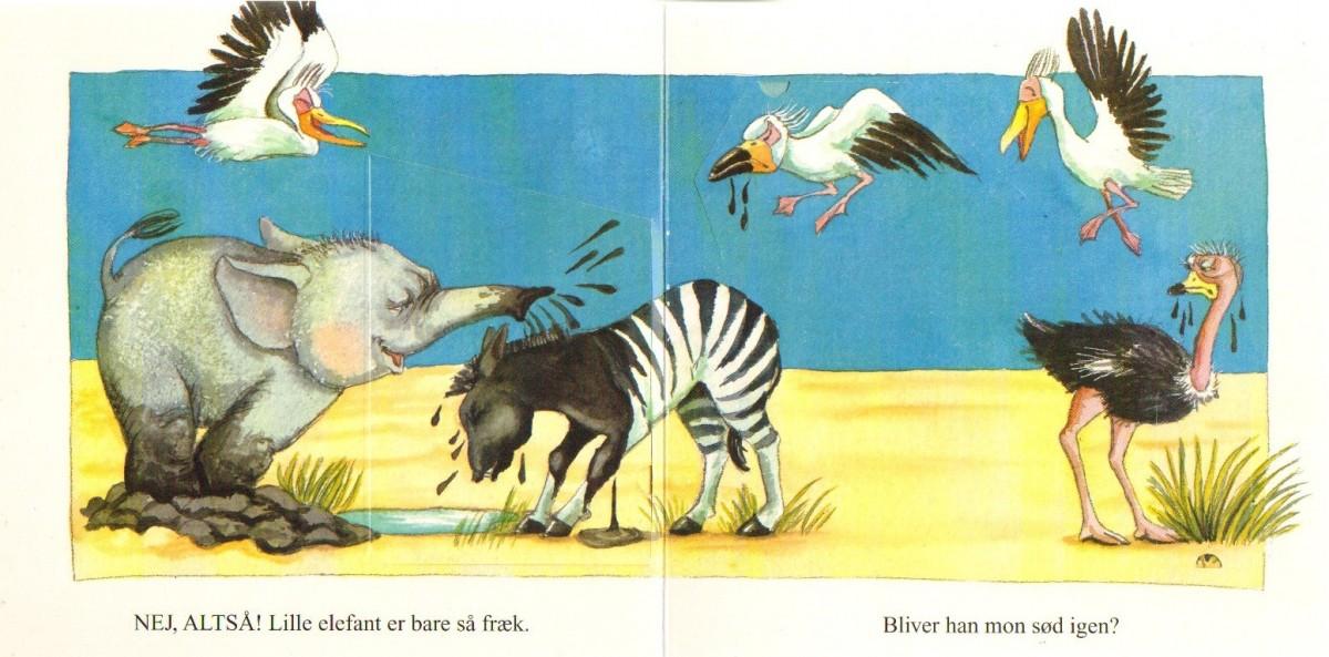 """Opslag fra """"den lille frække elefant"""", med lukkede flapper."""